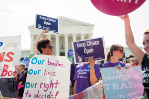 Pro-choice activists outside the Supreme Court in June.
