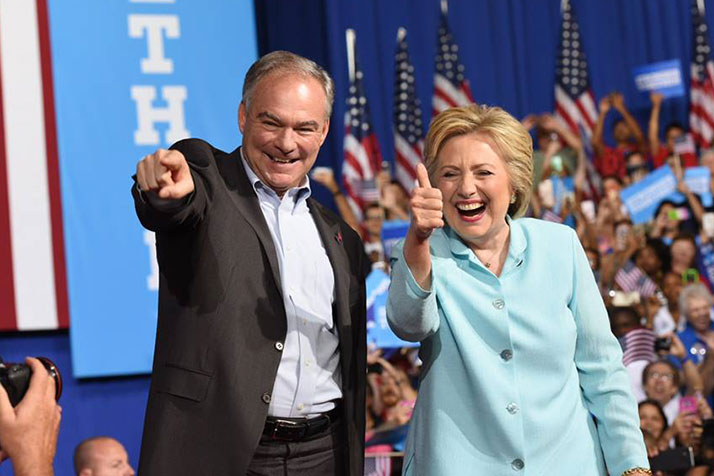 Tim Kaine with Hillary Clinton last week. Photo via Clinton campaign Facebook page.