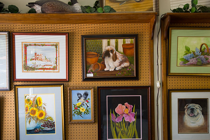 Betty Benson's paintings hang on the walls of her Artist Workshoppe in Mission.
