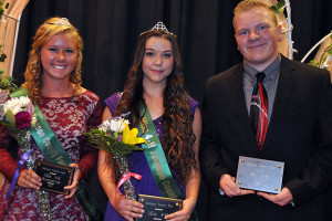 From left, Abigail Dawson, First Runner Up; Zoe Nason, Miss 4-H; Austin Woodward, Mr. 4-H. Photo by Adele Wilcoxen, Johnson County K-State Extension.