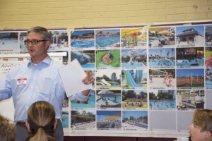 Consultants led a discussion of what should happen to the city pool Tuesday. Ideas for amenities that could be included were on the wall.
