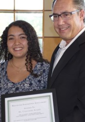 Cassandra Roque received her recognition from Westwood Mayor John Yé.