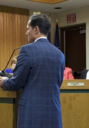 Mission City Council members listened to Tom Valenti make his proposal for passage of the latest site plan.