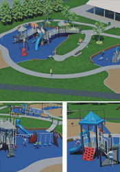 A rendering of the new playground approved for Leawood City Park. Rendering by Cunningham Recreation.