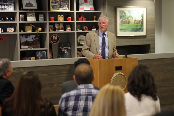 Gen. Richard Myers (Ret.), former chairman of the Joint Chiefs of Staff and current interim president of Kansas State University speaks about the K-State College Advising Corps at Shawnee Mission North High School.