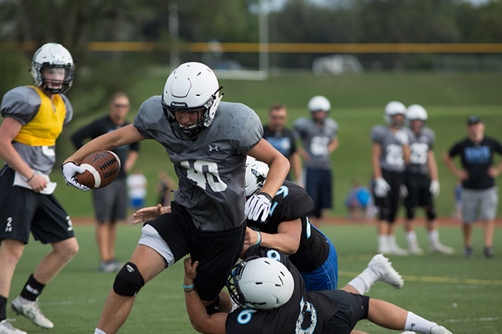 SM East's varsity offense ran through approximately 20 plays at the scrimmages Friday.