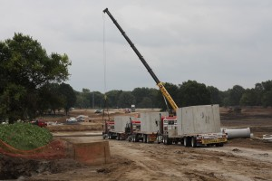 Culverts are being installed as part of the new roadway network at the Meadowbrook redevelopment.