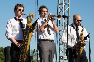 The horn section from Chris Hazelton's Boogaloo 7.