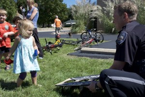 The picnic was complete with children's activities and a helping hand from officers, including those from Prairie Village.