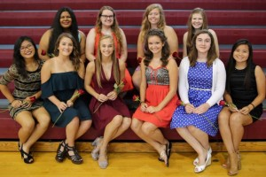 top row (L-R): Tiana Stacker, Magdelaine Hendricks, Morgan Latham, Madison Brown bottom row(left to right): Katana Rattanavong, Tessa Poterbin, Natalie Lanman, Kati Sneegas, Emily Cooper, Sandy Phommachan.