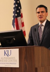 U.S. Rep. Kevin Yoder appeared at the KU Medical Center research facility in Fairway last week.