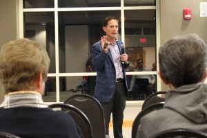 Developer Tom Valenti discussed the future of the Mission Gateway project at a public meeting Thursday night.