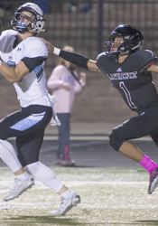 Shawnee Mission East receiver Trevor Thompason hauled in two touchdown receptions in the Lancers 22-point victory in Lawrence. (Nick Smith/PrepsKC)