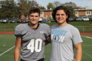 Senior running back Eli Kurlbaum, left, and senior offensive lineman Peter Haynes both scored 36 on their ACT composite.