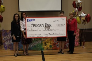 The presentation of a replica check was cheered by hundreds of students at Merriam Park Elementary.