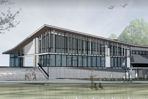 A rendering of the new community center at the Meadowbrook park.