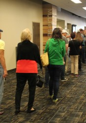 The line for early voting stretched into the hallway at the JoCo Northeast offices last Friday