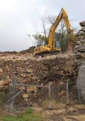 Limestone rock formations and caves are being crushed to make way for development at the old pool site in Roeland Park