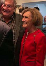 Barbara Bollier celebrated with a group of moderate Republicans at Posh Party in Prairie Village Tuesday.