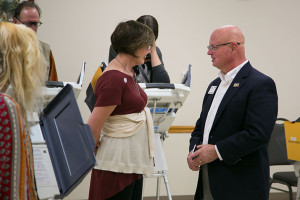 Johnson County Election Commissioner Ronnie Metsker checked in at the Sylvester Powell Community Center polling site in Mission Election Day morning.