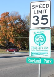 Roeland Park would like to come up with a snazzier new brand than this sign entering the city on Roe Avenue.