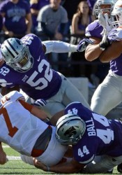 Kyle Ball, a 2014 SM East graduate and current freshman at Kansas State, sacks Texas quarterback Shane Buechele on Ball's first collegiate play of his career. (Contributed by Kyle Balll)