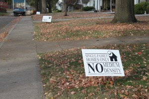 No Medium Density yard signs have popped up in Westwood in response to a draft city master plan.