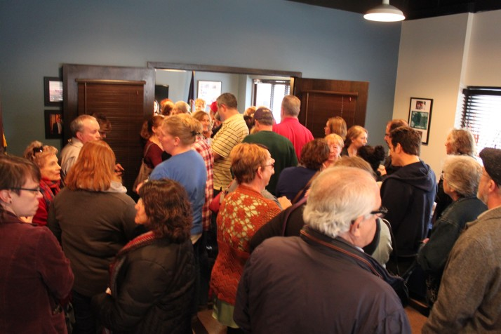 Crowd gathered inside Rep. Kevin Yoder's office waiting to meet him.