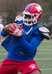 Bishop Miege senior wide receiver Jafar Armstrong will pose a big threat to the Buhler defense on Saturday. Armstrong and teammate Landry Weber have combined for 2,165 yards receiving and 37 touchdowns.