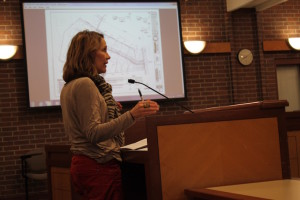 Neighbor Celia Heim objects to Homestead Estates rezoning at Prairie Village Planning Commission hearing.
