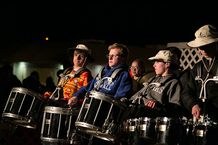 SM East's drumline kept the crowd enthused ahead of the flipping of the switch.