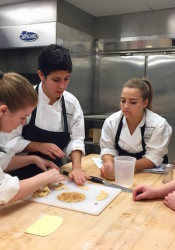 The pie-baking team from Shawnee Mission North prepared a pumpkin pie that featured a ginger-snap crust. From left, Alyssa Vela, 18; Anna Lalumondier, 18; Briana Engel, 16; Nathan Smith, 16, and Alissa Jordan, 16.