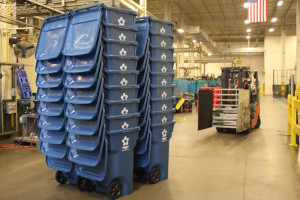A stack of roll-out carts destined for Prairie Village is ready to move out.