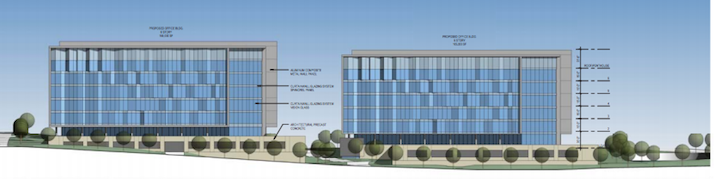 Two office buildings totaling 323,000 square-feet are proposed.