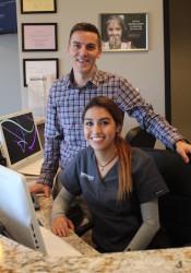 Ryan Nadolski of HealthSourceKC with clinic coordinator Ana Martinez.