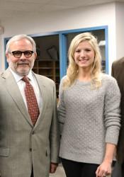 From left, Dr. Sue Adams, Brookridge principal; Dr. Kenny Southwick, deputy superintendent; Stephanie Wilhite, Brookridge second-grade teacher; and Dr. Jim Hinson, superintendent.