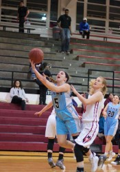 SM East senior Kyle Haverty  scored 13 of her 23 points in the third quarter as she helped the Lady Lancers to their first win of the season.