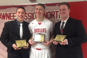 Dubois (from left), Schneider and Presler with their awards. Photo via SM North boys basketball team on Twitter.