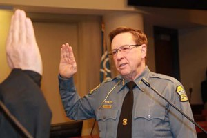 Calvin Hayden being sworn in as Johnson County's 28th sheriff. Photo via Johnson County Sheriff's Department on Facebook.