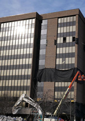 Crews have been at work preparing the former CenturyLink tower for demolition. Photo courtesy Sean Reilly, city of Overland Park.