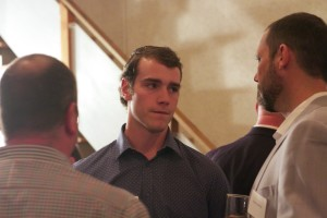 "Atlanta Braves prospect Joey Wentz mingles with the crowd on Thursday at Shawnee Mission East baseball's fundraiser ""Tales from the Dugout."" Wentz was inducted into SM East baseball's inaugural hall of fame class."