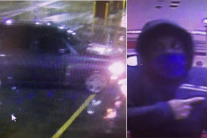 Security camera footage of the robber and the vehicle associated with the crime.
