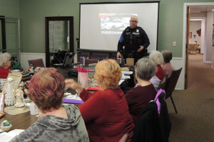 Cpl. John DeMoss leading the training at South Ridge Presbyterian. Photo courtesy Roeland Park Police Department.