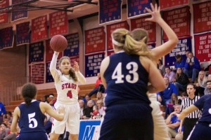 Bishop Miege sophomore Johnni Gonzalez throws in an entry pass in the first half against Mill Valley. She led all scorers with 18 points in the 21-point win.