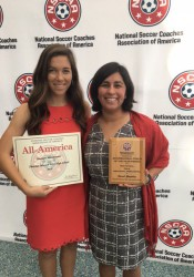 Shawnee Mission West alumna Sinclaire Miramontez and Vikings coach Sarah Gonzalez receive their All-American award and coach of the year award, respectively, at the NSCAA luncheon on Jan. 14.