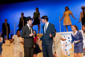 "Brenden Rennick, right, who plays Carl Hanratty, and Brahm Berry, who plays Frank Abagnale Jr., are two of the leads in SM North's winter musical ""Catch Me If You Can,"" which opens Thursday night."