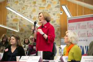 Sen. Barbara Bollier speaking at Saturday's forum at Corinth Library.