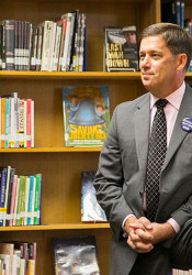 Shawnee Mission Superintendent Jim Hinson at Tuesday's SuperChat.