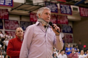 Bishop Miege girls coach Terry English says a few words after receiving his plaque for his 800th victory.