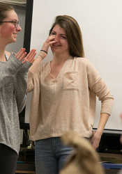 Celia Hack was in for a happy surprise at the start of journalism class Thursday.